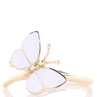 Тонкое золотое кольцо Roberto Bravo White Dreams белой бабочкой и бриллиантом, фото