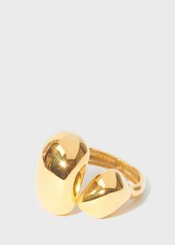 Позолоченное разомкнутое кольцо Misho Double Pebble , фото