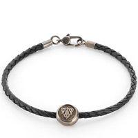 Браслет Gucci из серебра Crest black leather cord, фото
