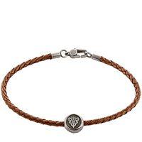 Браслет Gucci из серебра Crest brown leather cord, фото