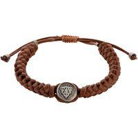 Браслет Gucci из серебра Crest with brown leather cord, фото