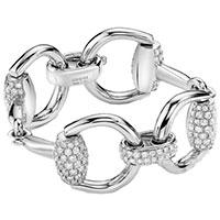 Широкий браслет из белого золота Gucci Horsebit с бриллиантами, фото