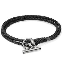 Черный кожаный браслет Gucci Horsebit с застежкой из состаренного серебра, фото
