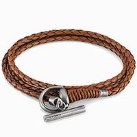 Коричневый кожаный браслет Gucci Horsebit с застежкой из состаренного серебра, фото