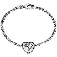 Тонкий серебряный браслет Gucci Flora с подвеской в форме сердца и гравировкой, фото