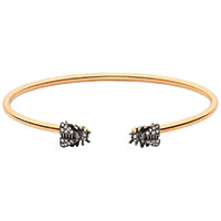 Разомкнутый браслет Gucci Le Marche des Merveilles с пчелами в серых бриллиантах, фото
