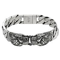 Серебряный браслет Gucci Garden с крупной плоской цепью и гравированными тиграми, фото