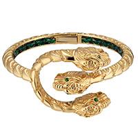 Золотой браслет Gucci Dionysus в виде голов трех тигров с зелеными цаворитовыми глазами, фото