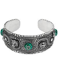 Серебряный браслет-кафф Gucci Garden с гравированными змеями и кошачьими головами, фото
