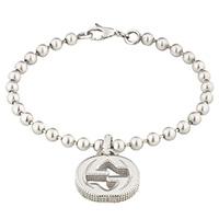 Серебряный браслет GucciInterlocking G с цепочкой из шариков и подвеской