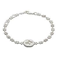 Серебряный браслет GucciInterlocking G с цветочным мотивом и подвеской
