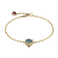 Золотой браслет Gucci Le Marche des Merveilles с подвеской и голубым аквамарином, фото