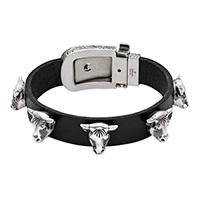 Черный кожаный браслет Gucci Anger Forest с серебряной пряжкой, фото