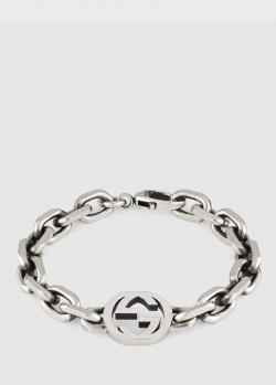 Серебряный браслет Gucci с крупными звеньями, фото