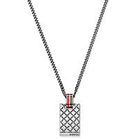 Серебряный кулон Gucci Diamantissima на цепочке с гравировкой и цветной эмалью, фото