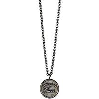 Кулон Gucci на якорной цепи из состаренного серебра с крафтовой гравировкой, фото
