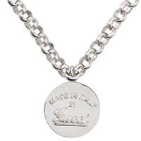Серебряный кулон на цепочке Gucci с фирменной надписью, фото