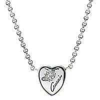 Кулон Gucci Flora в форме сердца на цепочке с гравировкой и чернением, фото