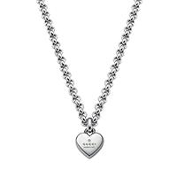 Серебряная цепочка Gucci Trademark с подвеской-сердцем с фирменной гравировкой, фото