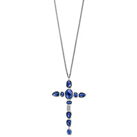 Серебряное колье Gucci Raindrop с подвеской в виде креста с синими камнями, фото