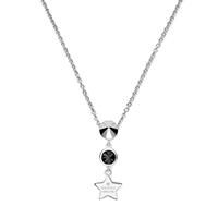 Тонкая серебряная цепочка Gucci Trademark с подвесом в форме звезды и черным камнем, фото