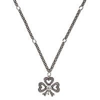 Подвеска в форме сердец с цепочкой Gucci Steel Cut из серебра, фото