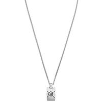 Серебряный жетон-подвес Gucci ghost с двухсторонней гравировкой на цепочке, фото