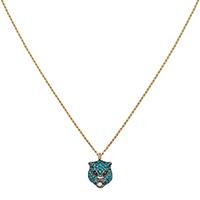 Золотое ожерелье Gucci Le Marche des Merveilles с серебряной подвеской и камнями, фото