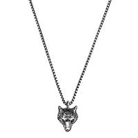 Серебряное ожерелье Gucci Anger Forest с кулоном в виде волчьей головы с гравировкой, фото