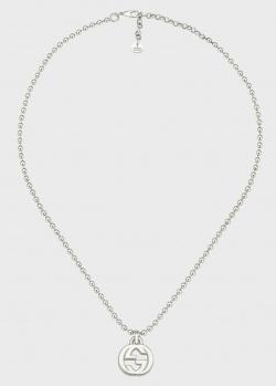 Серебряное ожерелье GucciInterlocking G с цепочкой и подвеской в виде символа, фото