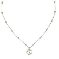 Серебряное ожерелье GucciInterlocking G с цветочными мотивами на цепочке и подвеской, фото