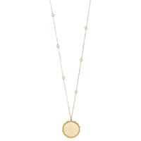 Ожерелье Gucci Icon из желтого золота с белым цветочным принтом и узорным краем, фото