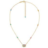 Золотое ожерелье Gucci Running G с логотипом и цветными топазами, фото