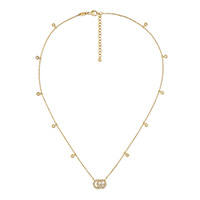 Тонкое золотое ожерелье Gucci Running G с подвеской и бриллиантами, фото
