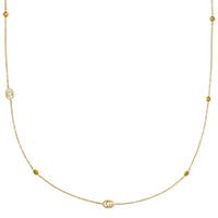 Золотое ожерелье Gucci Running G с зубчатыми логотипами на цепочке и голубым топазом, фото