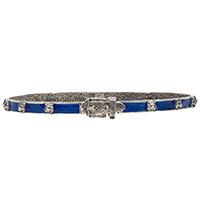 Серебряный браслет Gucci Garden с кошачьими головами и синей эмалевой пряжкой, фото