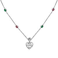 Серебряное ожерелье Gucci Blind for love с кулоном в виде сердца и цветными камнями, фото