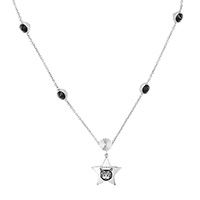 Серебряное ожерелье Gucci Blind for love с подвеской-звездой и черными камнями, фото