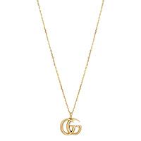 Тонкое золотое ожерелье Gucci Running G с большой подвеской в виде логотипа, фото