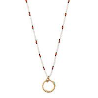 Золотое ожерелье Gucci Ouroborosс подвеской из змеи с драгоценными бусами, фото