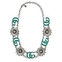 Широкое ожерелье Gucci GG Marmont с двойной цепочкой, цветами и подвеской, фото