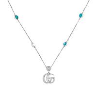 Ожерелье Gucci GG Marmont с подвеской-логотип G и драгоценных камней, фото
