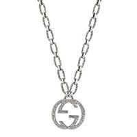 Серебряное ожерелье Gucci Interlocking G с текстурированной подвеской, фото
