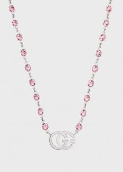 Золотое колье Gucci GG Running с розовыми топазами, фото