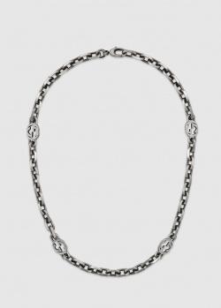 Серебряное ожерелье Gucci Interlocking с отделкой под старину, фото