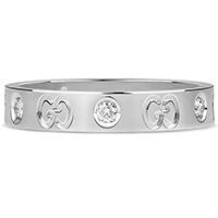 Тонкое кольцо Gucci Icon из полированного белого золота с бриллиантами, фото