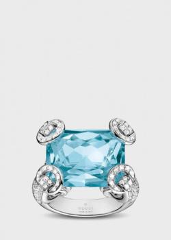 Кольцо Gucci Horsebit Cocktail c голубым топазом в оправе из бриллиантов, фото