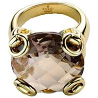 Коктейльное кольцо Gucci Horsebit из желтого золота с крупным дымчатым кварцем, фото