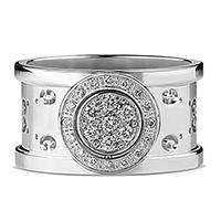 Широкое кольцо Gucci Icon из белого золота с бриллиантами и перфорацией, фото