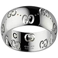 Широкое кольцо Gucci Icon из белого золота с фирменным тиснением, фото